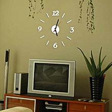 Modern Wall Clock Living Room DIY 3D Home Decoration Mirror Art Design Silver-Silver