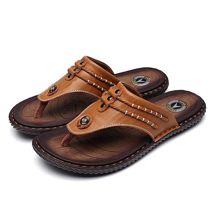 53972e097934 Generic Men s Leather Flip Flops Anti-slip Breathable Slippers ...