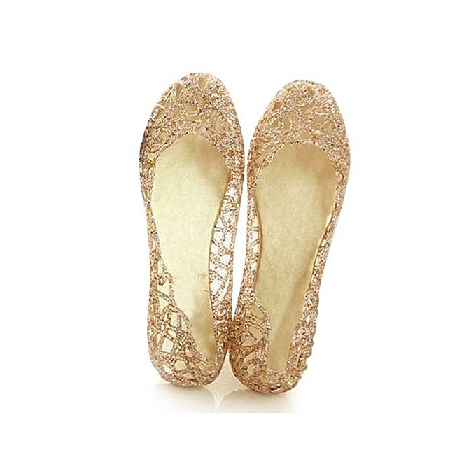 49ca59c463e65d ... Colour Pink Women Crystal Plastic Jelly Hollowed Flat Sandals ...