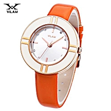 Female Watch Artificial Diamond Circular Dial Leather Band Wristwatch-ORANGE