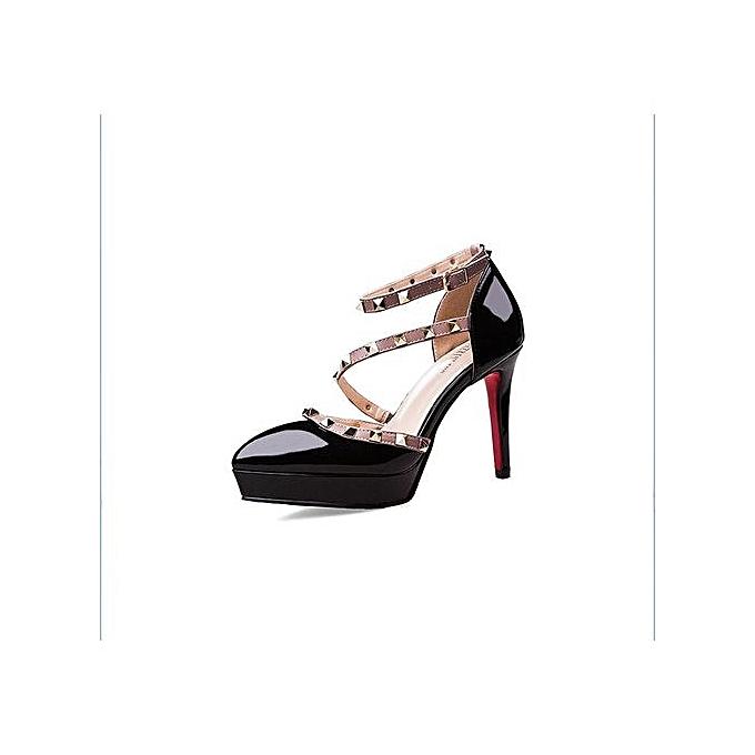 b5519e3027 Nude High Heels Pointed Toe Rivet Pumps Fashion Brand Women Shoes 2017  Italian Ankle Strap Big