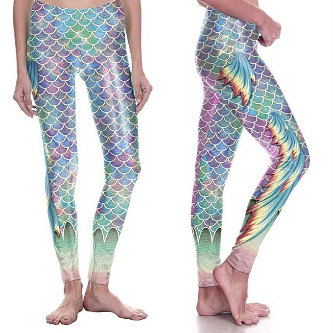 11609e4758 Fashion Womens Fish Scale Mermaid Leggings Ladies Metallic Shiny Spa ...