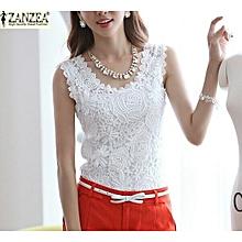 ZANZEA Plus Size S-4XL Womens Lace Tank Top Sleeveless T-shirt Vest Blouse Tee Tops(White)