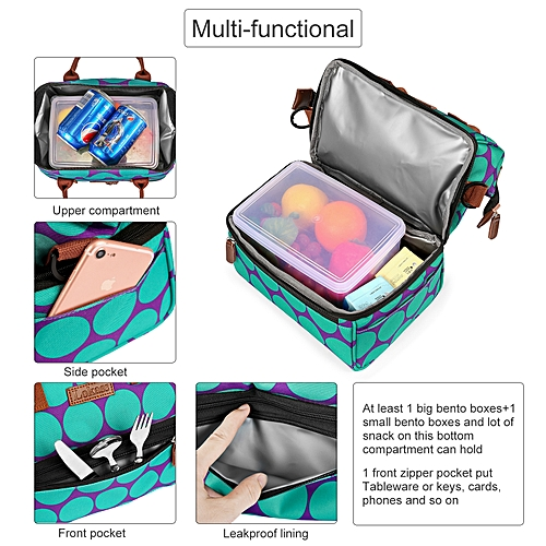 743ab7a983d2 LOKASS Lunch Bag Cooler Bag -Purple bottom green wave