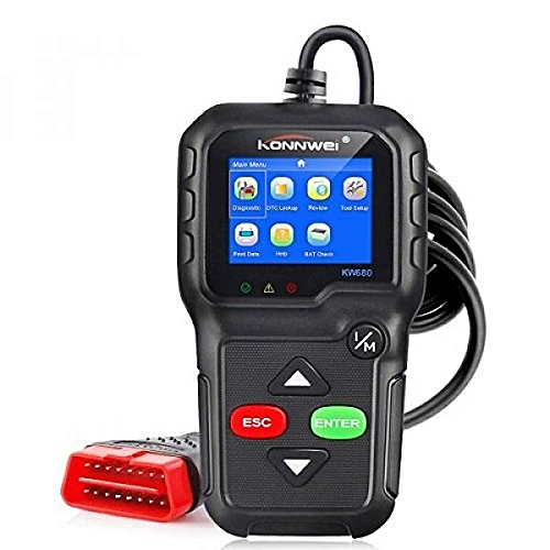 OBDII Automotive Code Reader KW680 OBD2 Car Diagnostic Scanner Full  OBD2/EOBD Functions Car Scan Tool Vehicle Engine Fault Scanners With Extra  BAT