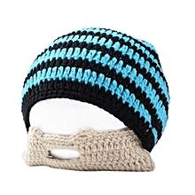 Stylish Cap Knitted Woolen Cap Creative Men Beard Design Warm Beanie Hat For Winter Autumn Color:Black And Blue Stripes