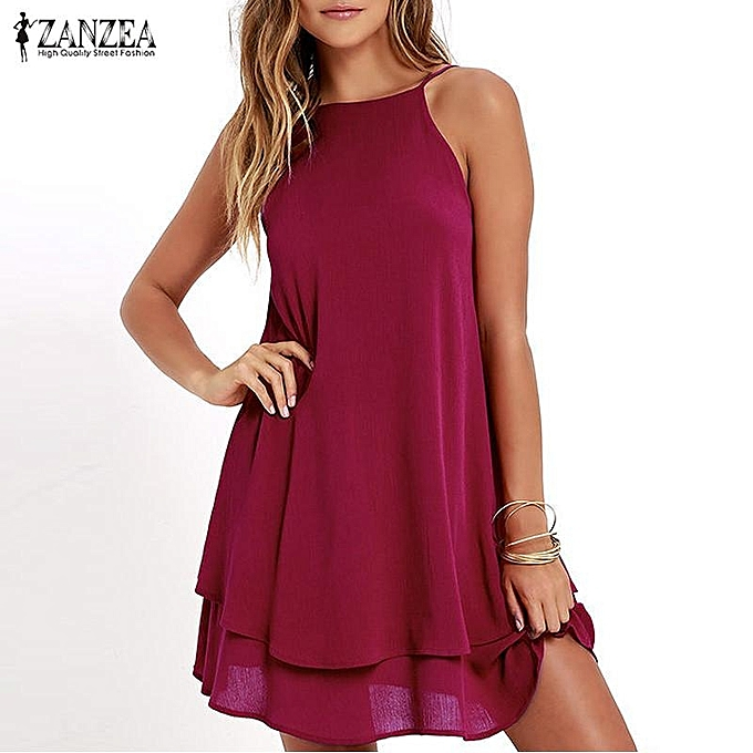 68a46d7e7dcd ZANZEA Women Strappy Loose Casual Solid Short Mini Dress Summer Beach Dress  Plus (Wine Red ...
