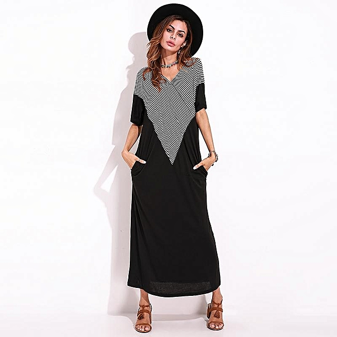 810ea3b9b8f ... Summer Women Elegant Maxi Dress Plus Size Striped Patchwork Short  Sleeve Casual Party Long Shift Dresses ...