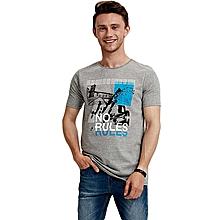 Grey Fashionable Regular T-Shirt