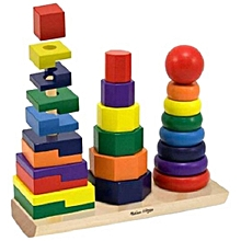 WOODEN RAINBOW STACKER RING EDUCATIONAL TOY FOR EARLY DEVELOPMENT