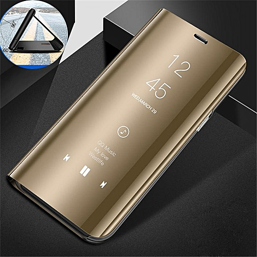 on sale f165b e92b9 Clear View Mirror Case For Samsung Galaxy J7 Duo / J7Duo Leather Flip Stand  Case Mobile Accessories Phone Cases Cover (Gold)