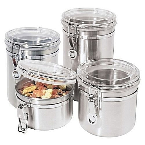 Buy Generic 4 Piece Mini Stainless Steel Canister Set With