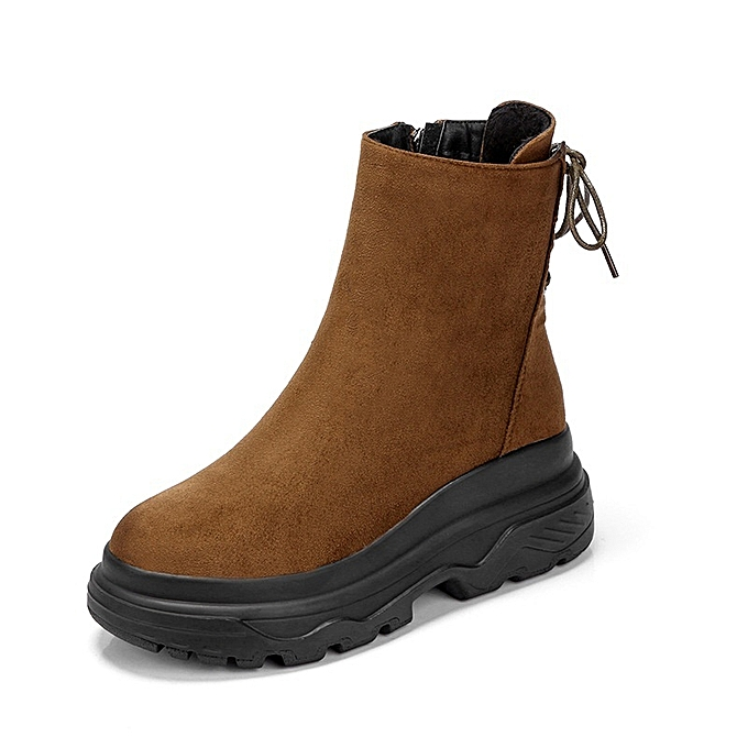 Generic New Stylish Thick Flat Sole Women s Lacing Boots   Best ... 5618aab4b2