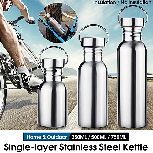 0a0fdb7c7e7 Stainless Steel Water Bottle Wide Mouth Flask with Outdoor Carabiner  Leak-proof Jar Sporting Water