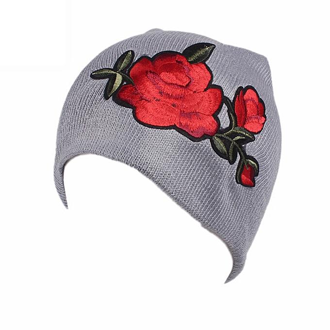 b7abe2e89ed singedanWomen Embroidery Roses Cancer Chemo Hat Beanie Scarf Turban Head  Wrap Cap GY -Gray