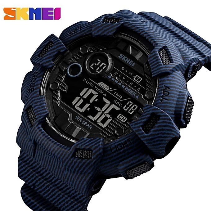 9e377c1a5184 ... Men Digital Watch Waterproof Chronograph Countdown Sport Wristwatch  Luxury Luminous Electronic Clock Reloj Hombre(Blue ...
