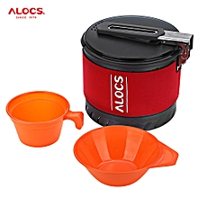 CW - S10 1 - 2 Person Outdoor Fast-heating Pot Camping Cookware With Bowl Cup - Red