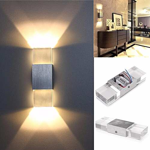 Solid Wall Lamp Led 3w Indoor Wall Light Aluminum Up Down: Generic 2W Modern LED Wall Light Up Down Cube Indoor