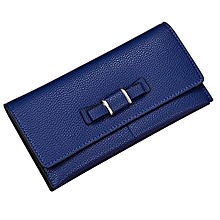 Women Purse Wallet Clutch Card Holder Bow PU Female Large Capacity Wallet blue