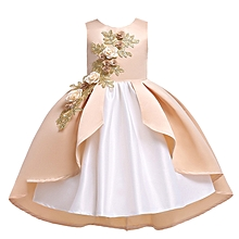 Girl Kids Ruffles Lace Party Wedding Dancing  dinner Dresses  Fashion Children  Skirt Girls Princess cosplay costume Dress