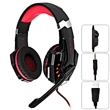 Fashion G9000 Gaming Headphone 3.5mm Game Headset Headband For PS4 With Mic LED Light(RED WITH BLACK)