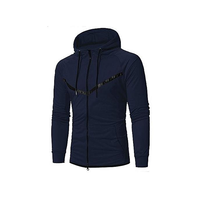 9394f9af6dd4 bluerdream-Mens  Long Sleeve Patchwork Hoodie Hooded Sweatshirt Tops Jacket  Coat Outwear-Navy