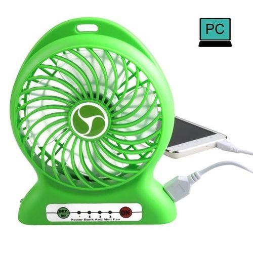 Mini Rechargable Fan with Inbuilt Powerbank - Green