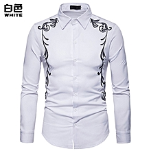 Fashion Long Sleeve Shirt Palace Style Embroidery Casual Slim Fit Male Shirts Turn-Down Collar Shirt - white