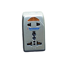 TTA 248 - Travel Adaptor for Europe, UK, USA & Japan with One Universal & One 2 pin Socket - Silver