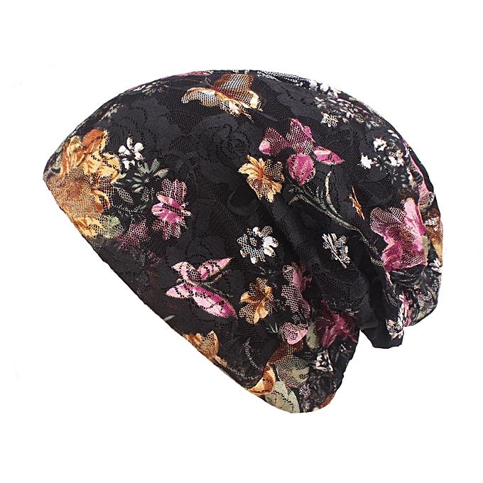 Women Summer Breathable Thin Flowers Ethnic Cotton Lace Beanie Hat Vintage  Good Elastic Turban Caps 46071941dcd