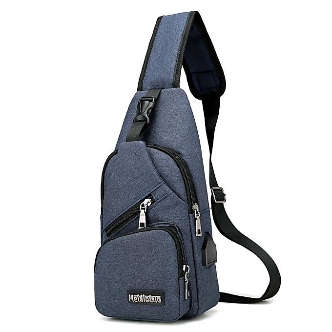 7c57d93d0ca Men 's chest bag popular new canvas men travel small bag multi - functional  satchel crossbody shoulder bag simple boys hand bag(7navy)