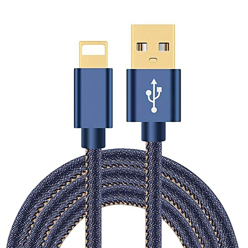 Micro USB  Data Cable Denim / Jeans Iphone Mobile Phone USB Charging Cable 1.2M - Blue