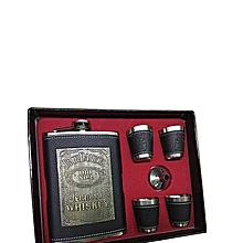 Pocket Hip Flask Whisky Wine Bottle Jack Daniel's Leather Gift Set with free Funnel and Shot Glasses 7OZ