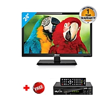 "NTV2450LED1 - 24"" HD Analog LED TV - Black + FREE Skylife Decorder"