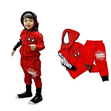 2 Pieces Boy's Thin Cotton Pant + Top Hoodies Sweater(Color:Red)