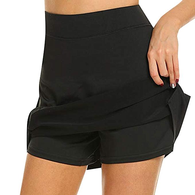 a6bfedebec jiahsyc store Women's Active Skorts Performance Skirt Running Tennis Golf  Workout Sports-Black