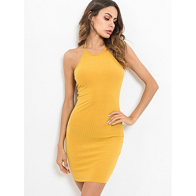 dd97bf6351193 Open Back Halter Neck Bodycon Dress,Rubber Ducky Yellow