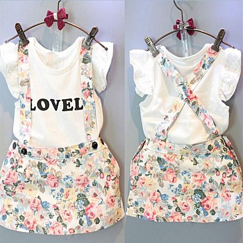 949755e20156 MUYI 2PCS Kids Baby Girl Tops T-shirt+Skirt Overalls Strap Skirt ...