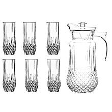 Quality Tableware Serving Crystal Juice/Water Glasses Jug Set - 7pcs.