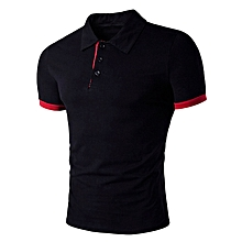 Men's Panel Design Polo T-Shirt - Black