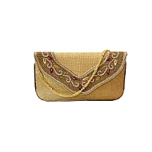 Jute Clutch with Wooden Beads work - Gold