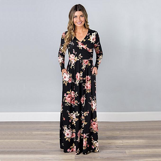 d094e03ac Fashion Women Floral Print Long Sleeve Maxi Dress V Neck Vintage Flower  High Waist Party Dress