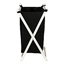 Foldable Laundry Basket - Black with White Stands