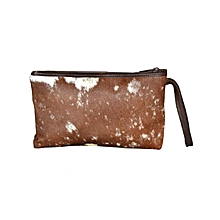 Brown Cosmetic Bag With Fur
