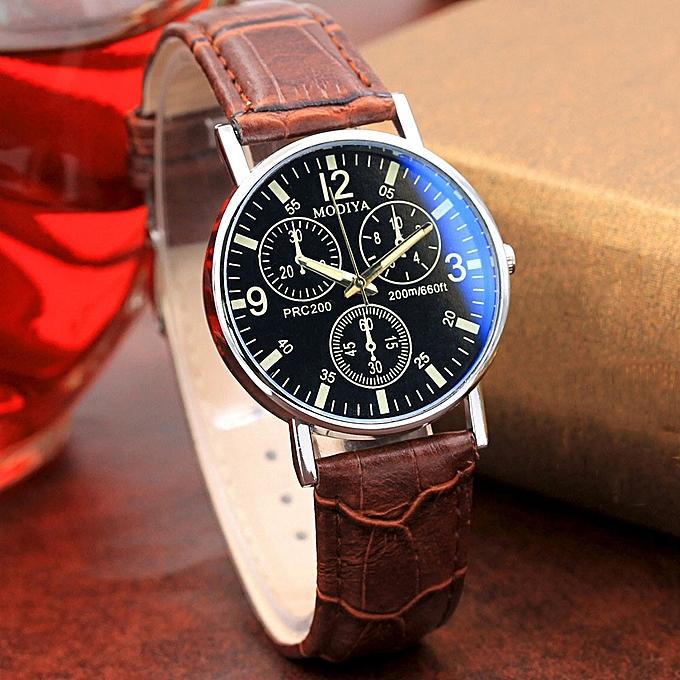 16ef4848c80 ... fashion Africashop Watch Six Pin Watches Quartz Men s Watch Blue Glass  Belt Watch Men-Brown