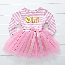 Girls Stripe Printing Gauze Dress - Pink