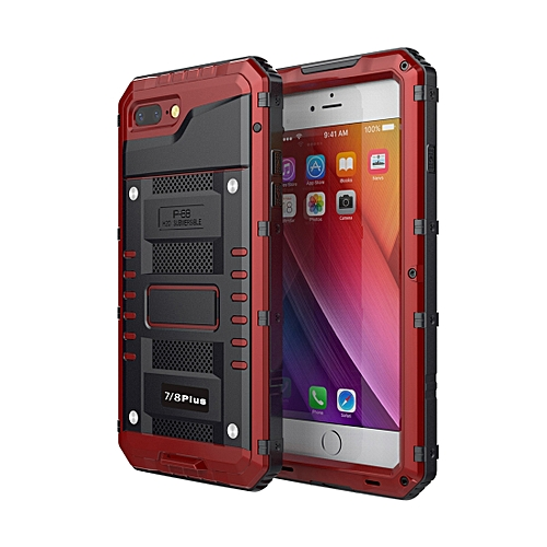 timeless design ae517 776f6 Waterproof Dustproof Shockproof Zinc Alloy + Silicone Case for iPhone 8  Plus & 7 Plus (Red)