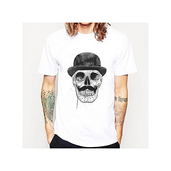 436a77ce New Fashion Men's Gentleman Skull Printed T Shirt Popular Tops Hipster  Novelty Casual Short Sleeve Tees