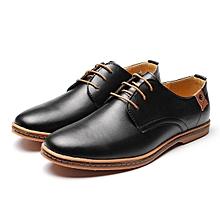 Men Business Dress Leather Shoes Flat European Casual Oxfords Lace Up Plus Size-EU