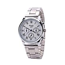 Blicool Wrist Watch  Men General Business Quartz Watch Stainless Steel Strap-white